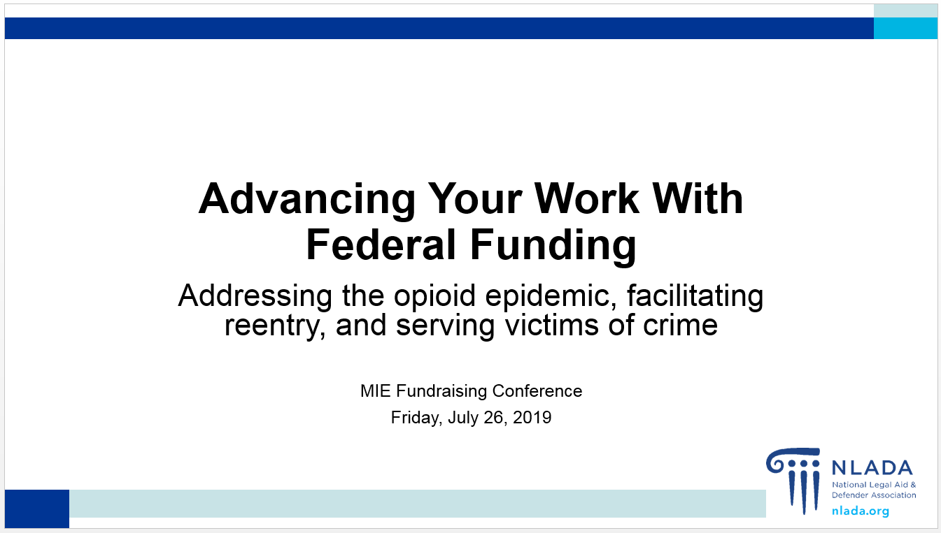 Advancing your work through federal funding presentation
